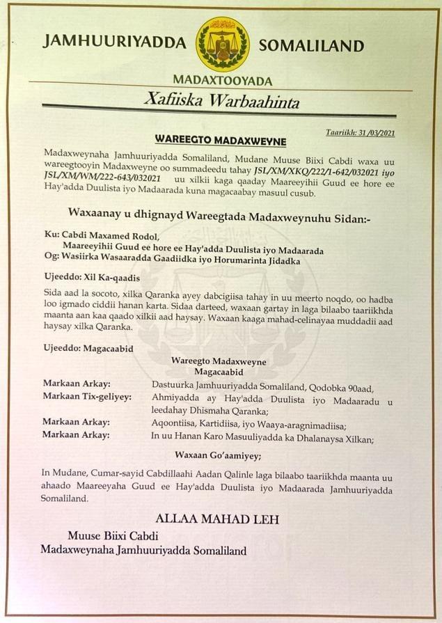 Madaxweyne Muuse Biixi Oo Xilkii Ka Qaaday Maareeye Rodol & Masuulka Lagu Bedelay.