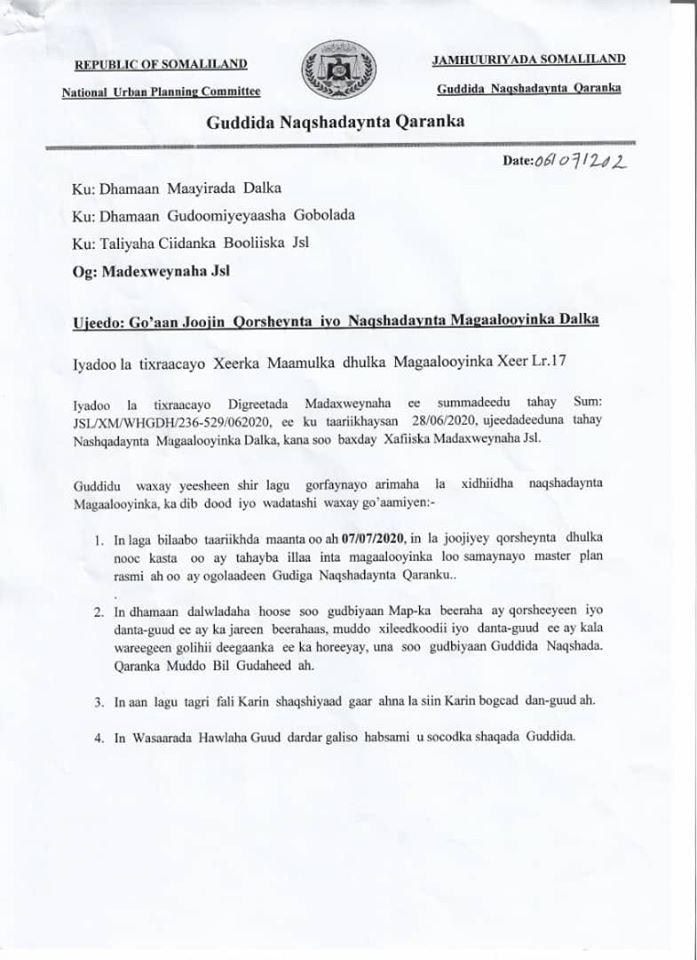 Somaliland Oo Amaro Culus Kasoo Saartay Bixinta Dhulka Danta Guud.