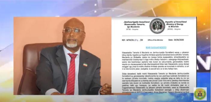 Wasiirka Tamarta & Macdanta Somaliland Oo Amar Culus Dul-dhigay Qaar kamid Ah Shirkadaha Korontada.