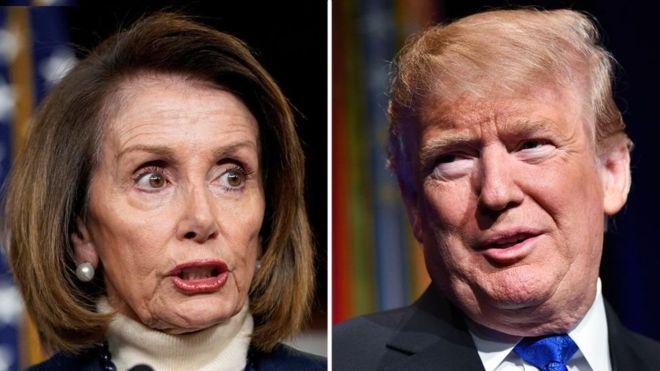 Trump oo hakiyay safar ay Nancy Pelosi dibadda ku tegi laheyd khilaafka taagan awgii