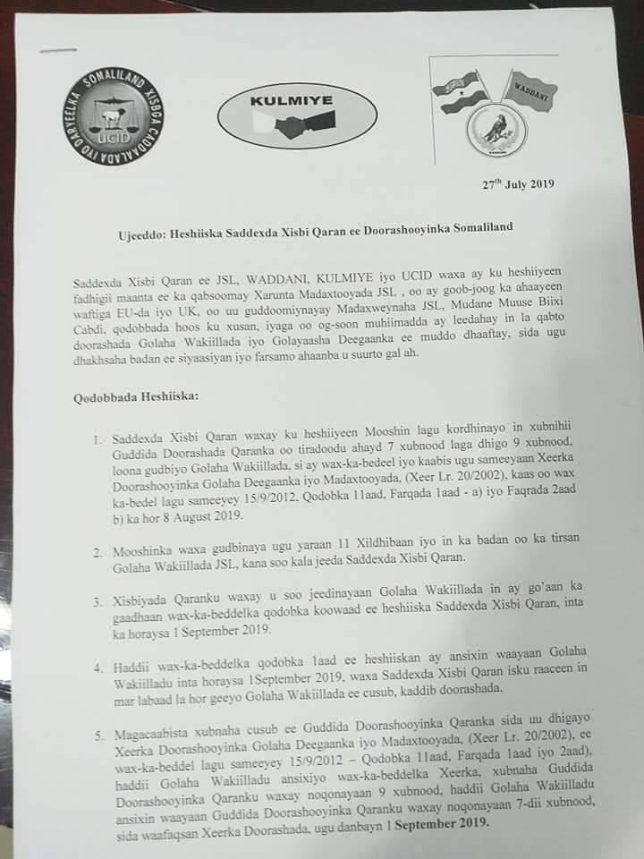 Saddexda Xisbi Qaran Ee Somaliland Oo Heshiis Ay Doorashada Ka Gaadheen Soo Badhigay.