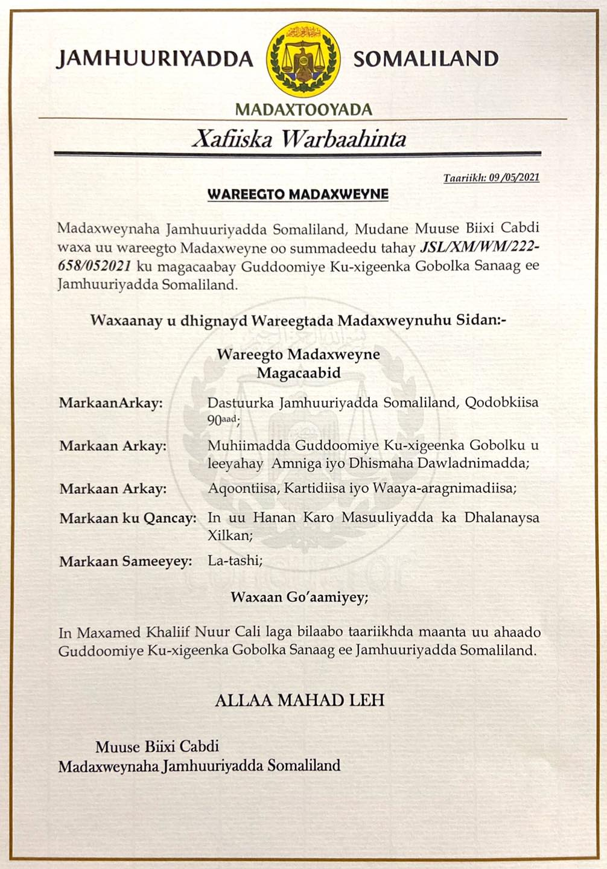 Gudaha:-Wasaaradda Deegaanka Somaliland Oo Sheegtay In Dib Loo Soo Celinaayo Seereyaasha Dalka