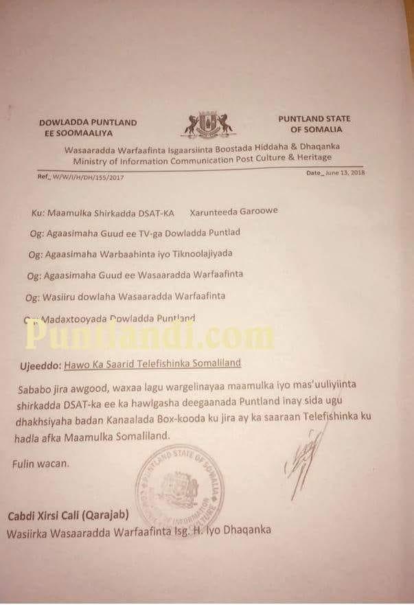 Xog Culus:-Maamulka Puntland Oo Amar Ka Dhan Ah Telefishanka Qaranka Somaliland Dul Dhigtay Shirkado Ka Hawl Garoowe.