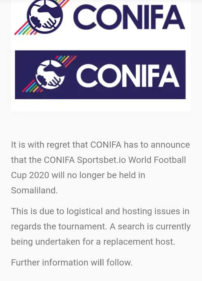 Caalamka:-Ururka Kubada Cagta Wadamada Aan La Aqoonsan Ee Conifa Oo Shaaciyey Go'aan Ka Dhan Ah Somaliland