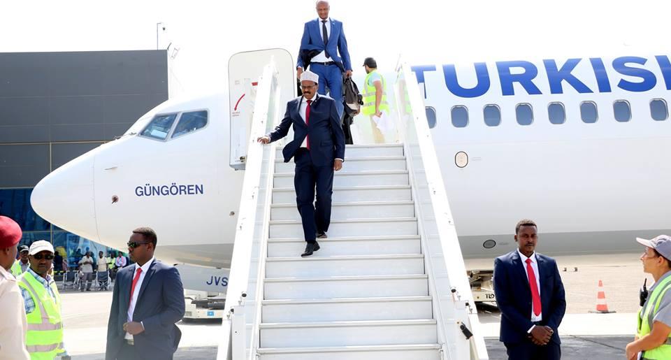 Muqdisho:-Madaxweyne Farmaajo oo Moqdisho Dib Ugu Laabtey Kadib Shirkii Soomaaliya ee Brussels.