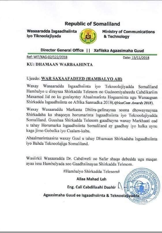 Gudaha:-Xukuumada Somaliland Oo Ka Hadashay Abaal Marinta Caalamiga Ah Ee Uu Ku Guuleystay Gudoomiyaha Shirkada Telesom.