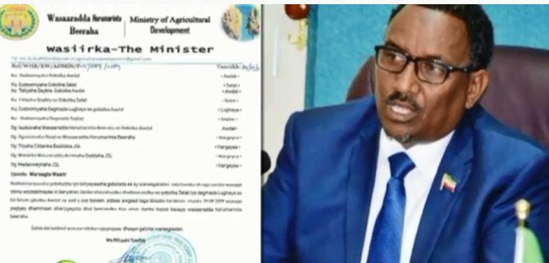Hargeysa: Daawo Wasaarada Beeraha somaliland oo soo saartay Wareegto cusub iyo Nuxurka Wareegtadaasi Xambaarsantahay