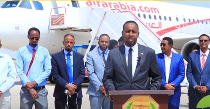 Daawo: Diyaaradda Air Arabia Oo ka Soo Degtay madaarka Hargeisa, Iyo Xukuumada oo ka hadashay Xannibaadi laga qaaday