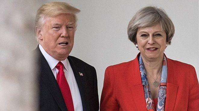 Trump oo Ra'iisulwasaaraha Britain ku weeraray Twitterka