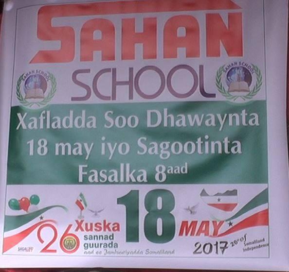 Daawo;Muumulka Dugsiga Hose Dhexe Ee Sahan Ee Magalada Burco Oo Xaflad Sagotina Ku Maamusay Ardayda Fasalka 8aad Kuna Xusayey Munasibada 18 May