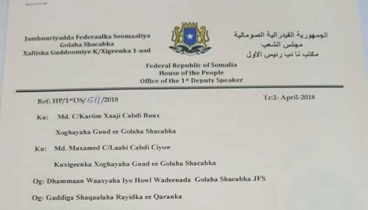 Xoghayihii Baarlamaanka Somaliya Oo Xilkii Laga Qaadey iyo Cida Loo Magacaabey +Khilaafkii Oo Cirka Isku Sii Shareeray.