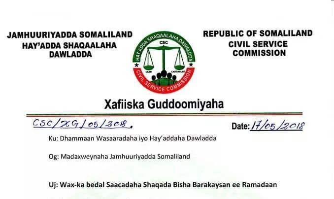 Hargeisa:-Saacadaha Shaqada Oo Wax Ka Badel Lagu Sameeyay Inta Lagu Jiro Bisha Ramadaan.