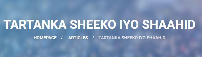 OGAYSIIS OGAYSIIS, TARTANKA SHEEKO IYO SHAAHID